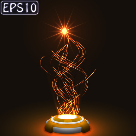 techology: released energy particles swarm.(glowing particles.orange version) Illustration