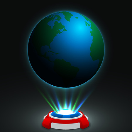 hologram: hologram machine concept. (glowing earth hologram) Stock Photo