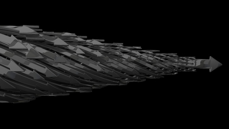 black metal: abstract background of 3d arrows.(horizontal moving black metal arrows version)