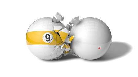 ninth: breaking billiard ball (ninth ball)