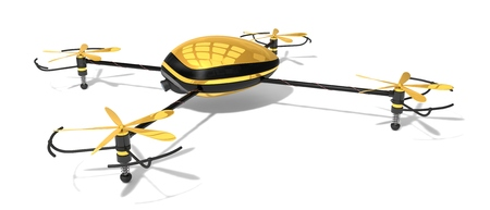 quad: the golden drone. (quad copter.right-top view.)