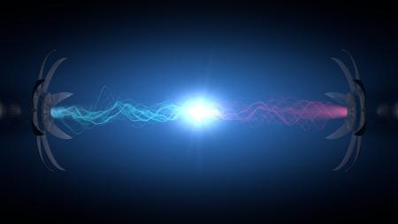 原子炉の中心部の強力なエネルギー反応。(電子衝突型加速器マシン concept.blue ・ ピンク粒子) 写真素材