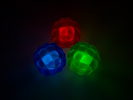 red' green: red,green and blue glass spheres.