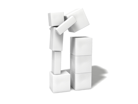 sorted: simple 3d cubic character.stacking blocks. Stock Photo