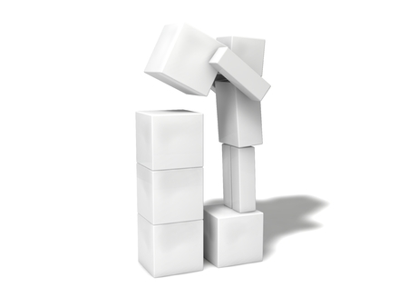cubic: simple 3d cubic character.stacking blocks. Stock Photo