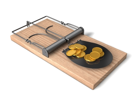 3d finance trap with wooden body and metal details.side view. photo