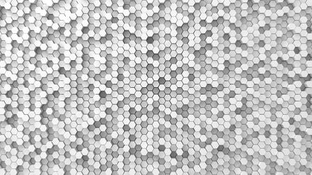 shifted: random elevated geometric shapes background (hexagonal shapes version.) Stock Photo