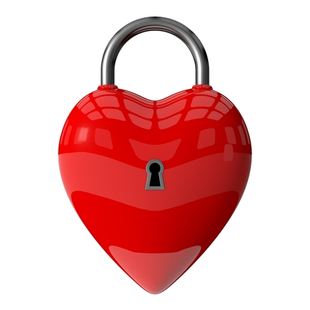3d padlock of red heart
