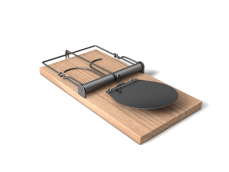 3d mouse: 3d mouse trap with wooden body and metal details.side view.