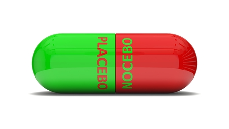 placebo: conceptual 3d design of false pill.( placebo and nocebo effect. red and green colored version)