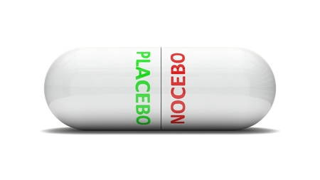 placebo: conceptual 3d design of false pill.( placebo and nocebo effect. version)