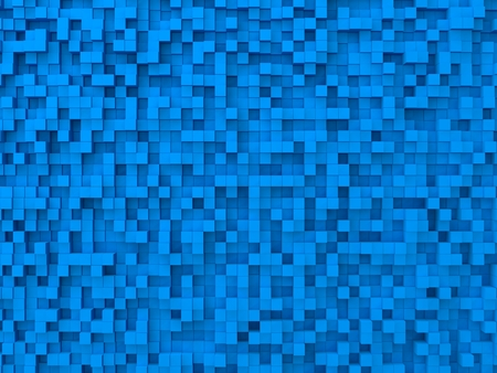 many coloured: random elevated geometric shapes background (blue cubes version) Stock Photo