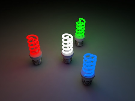 rosso verde: red, green, blue and white colored fluorescent lamps.