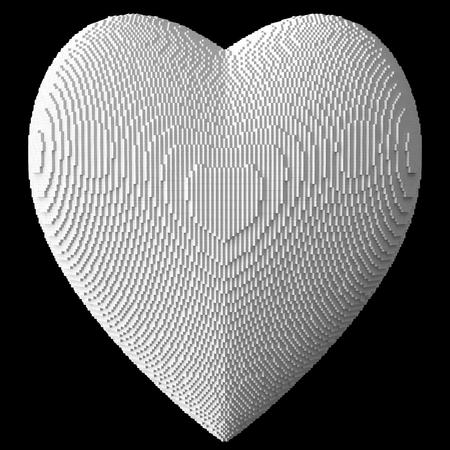 3d heart: 3d heart by white blocks