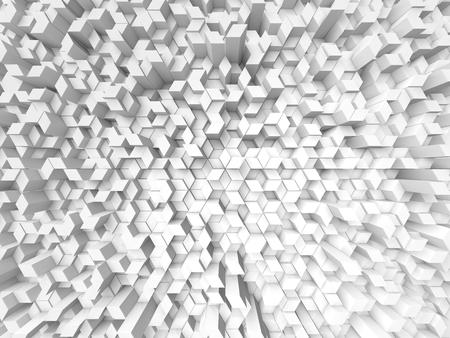 shifted: random elevated geometric shapes background (white, fisheye version.)