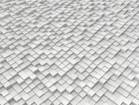 shifted: random elevated cubes.white version. Stock Photo