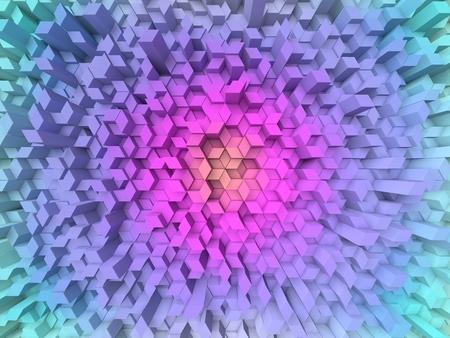 shifted: random elevated geometric shapes background (circular colored, fisheye version.) Stock Photo