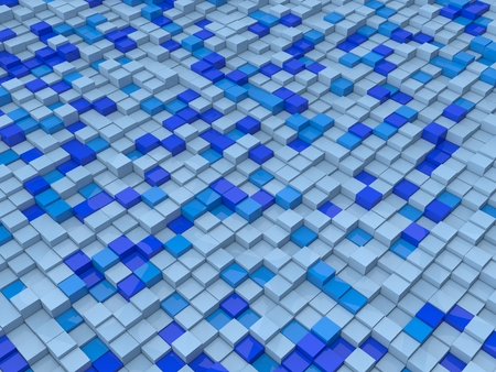 shifted: random elevated cubes.blue tones version. Stock Photo