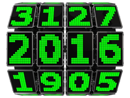lcd: 3d year counter mechanism with LCD screens (hi tech mechanics)