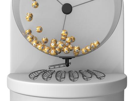 3d lottery machine concept, golden balls version. Foto de archivo