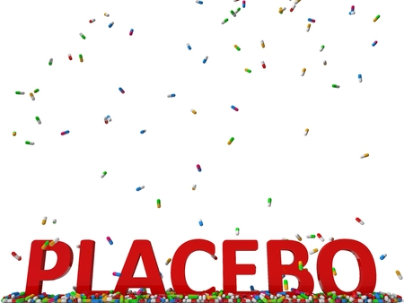 placebo: pills rain and red placebo text.