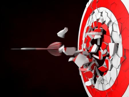 hit: powerful dart hit Stock Photo