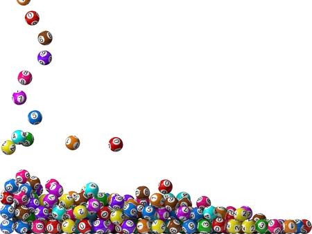balón: bolas de la lotería pila, llenando desde el lado izquierdo