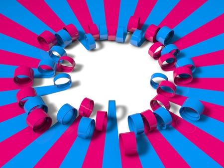 unfold: 3d folding stripes, blue and pink version