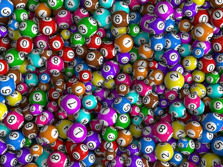 random sized lottery balls, top view Foto de archivo