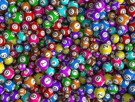 random sized lottery balls, top view Archivio Fotografico