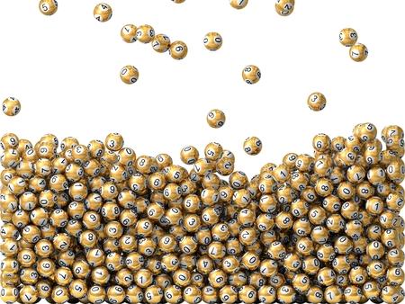 lottery win: golden lottery balls rain, filling screen. (semi filled) Stock Photo