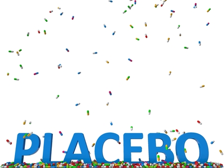 placebo: pills rain and blue placebo text.