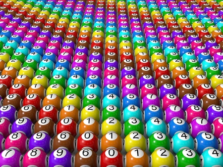 sorted: sorted lottery balls Stock Photo
