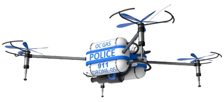 riot: Police drone. armed with pepper spray.