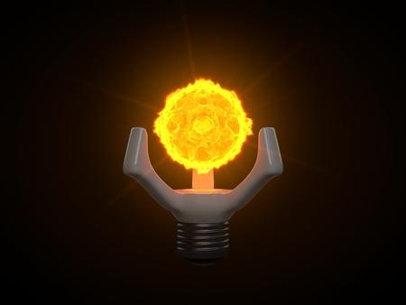 futuristic nano sun lamp. generating nano sized sun for replacement clasic lamp.