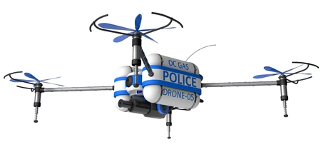 remote view: Police drone. armed with pepper spray.