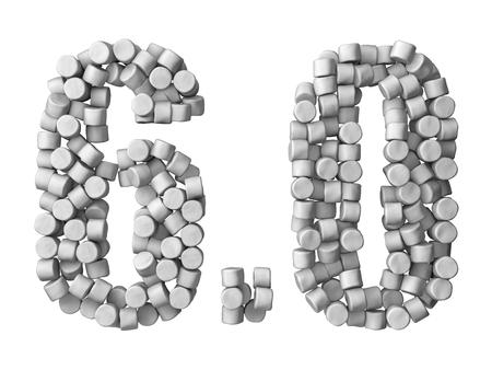indulgence: Marshmallow filled numbers. isolated on white. Stock Photo