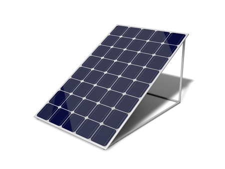 3d solar panel. solated on white.