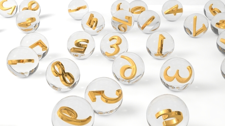 golden ball: 3d crystal lottery balls with golden numbers inside