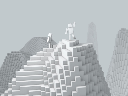 cubic: 3d cubic character on top of mountain. Stock Photo