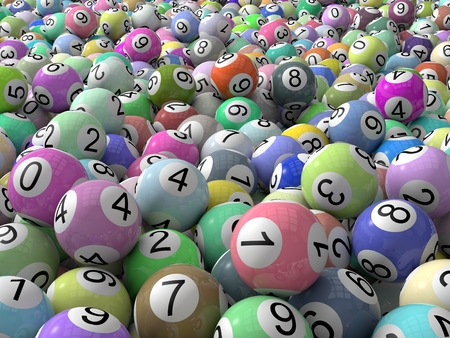 lottery balls stack with depth of field.