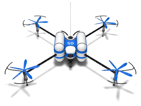 oc: Police drone. armed with pepper spray. front view. Stock Photo