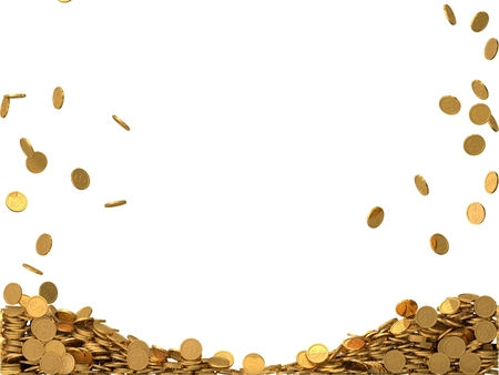 dollar symbol: rounded golden coins with dollar symbol. Stock Photo