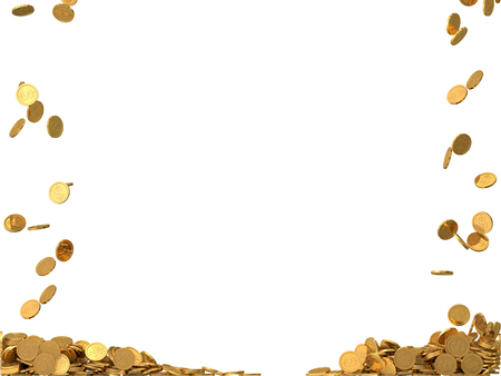 golden coins: rounded golden coins with dollar symbol. Stock Photo
