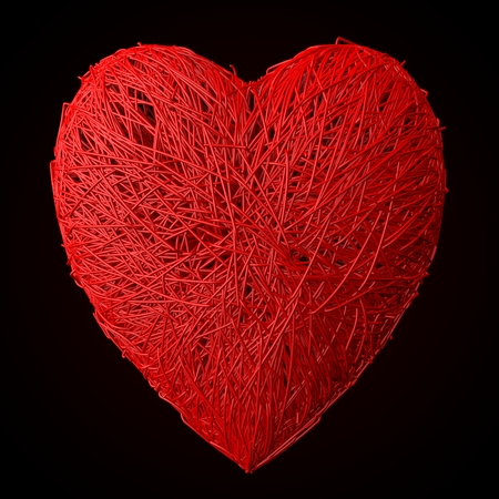 tangled: heart formed tangled red wires Stock Photo