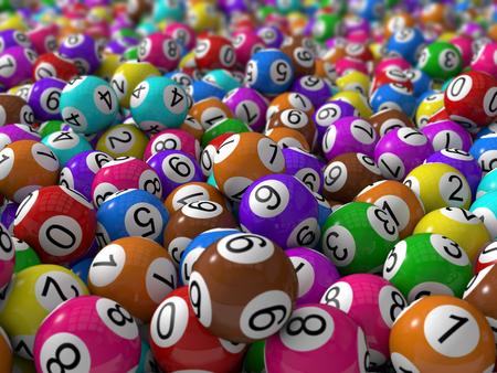 3d lottery balls with depth of field. Standard-Bild