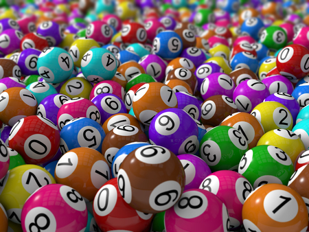 3d lottery balls with depth of field. Banco de Imagens