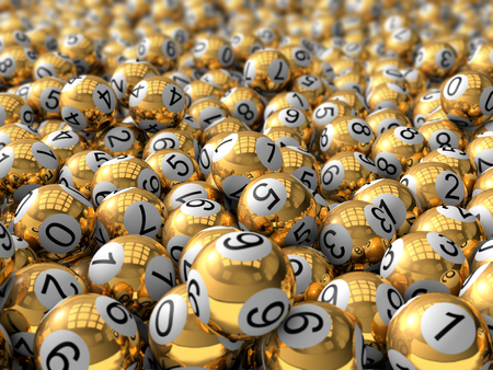 3d golden lottery balls. with depth of field effect. Banco de Imagens