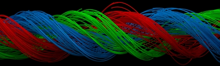 cable tangle: twisting square shaped wires. red, green and blue wires.