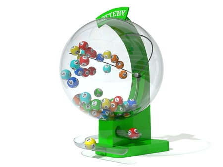 lottery win: Christmas lottery. green machine and standart balls version. left side view.